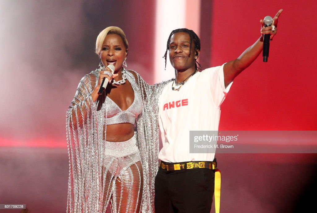 Recording artists Mary J. Blige and A$AP Rocky perform onstage during the 2017 BET Awards at Microsoft Theater on June 25, 2017 in Los Angeles, California.