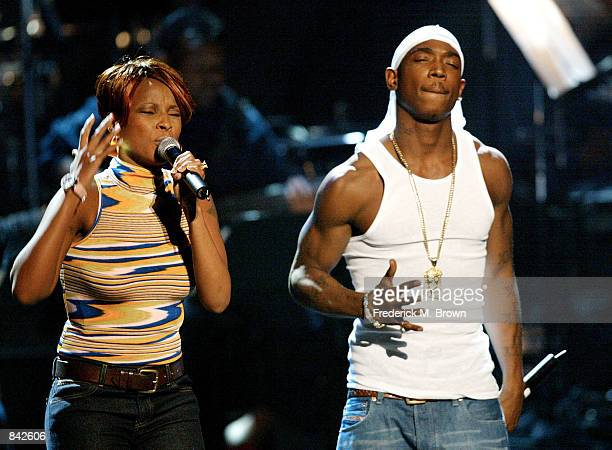 Recording artists Mary J Blige and Ja Rule perform during rehearsals at the Second Annual BET Awards on June 24 2002 in Los Angeles California