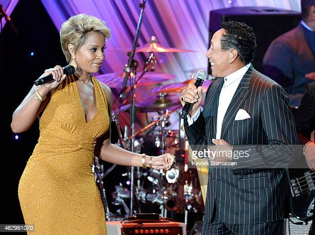 Recording artists Mary J Blige and Smokey Robinson onstage during the PreGRAMMY Gala and Salute To Industry Icons honoring Martin Bandier at The...