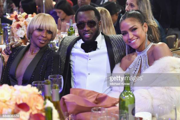 Recording artists Mary J Blige Sean Combs and Cassie Ventura attend PreGRAMMY Gala and Salute to Industry Icons Honoring Debra Lee at The Beverly...