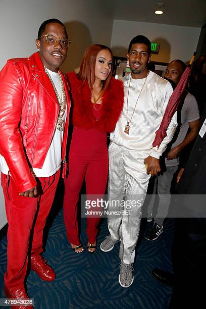 Recording artists Mase and Faith Evans author/musician Fonzworth Bentley pose backstage during the 2015 BET Awards at the Microsoft Theater on June...
