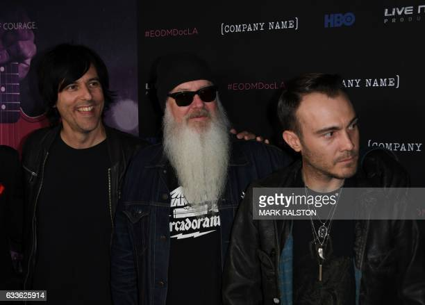Recording artists Matt McJunkins Dave Catching and Jorma Vik attend the premiere of 'Eagles of Death Metal' at the Avalon Theatre in Los Angeles...