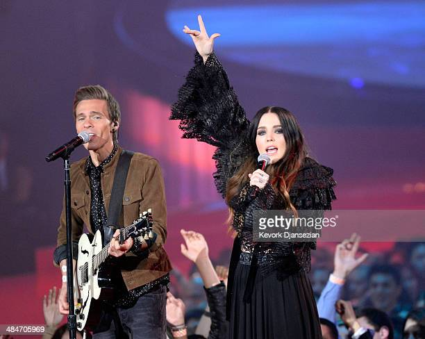 Recording artists Matthew Koma and Miriam Bryant perform onstage at the 2014 MTV Movie Awards at Nokia Theatre L.A. Live on April 13, 2014 in Los...