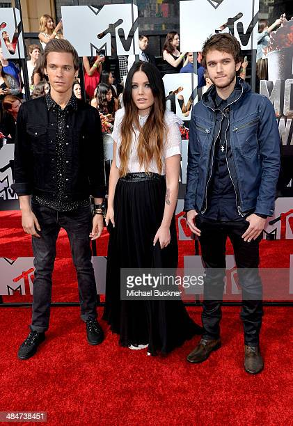 Recording artists Matthew Koma, Miriam Bryant and Zedd attend the 2014 MTV Movie Awards at Nokia Theatre L.A. Live on April 13, 2014 in Los Angeles,...