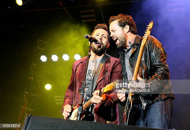Recording artists Matthew Ramsey and Brad Tursi of music group Old Dominion perform onstage during attends the 50th Academy Of Country Music Awards...