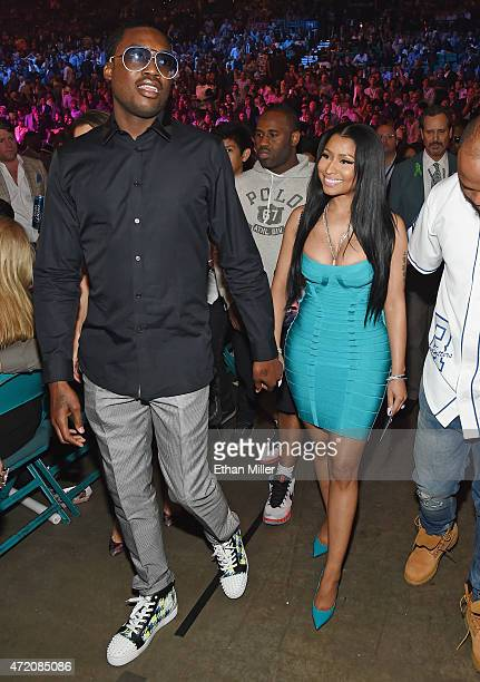"Recording artists Meek Mill and Nicki Minaj arrive at ""Mayweather VS Pacquiao"" presented by SHOWTIME PPV And HBO PPV at MGM Grand Garden Arena on May..."