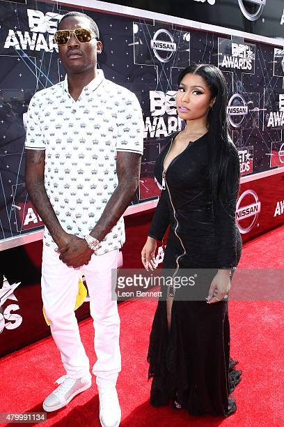 Recording artists Meek Mill and Nicki Minaj arrived at the BET Make A Wish Foundation Recipients BET Experience At LA Live Red Carpet arrivals...