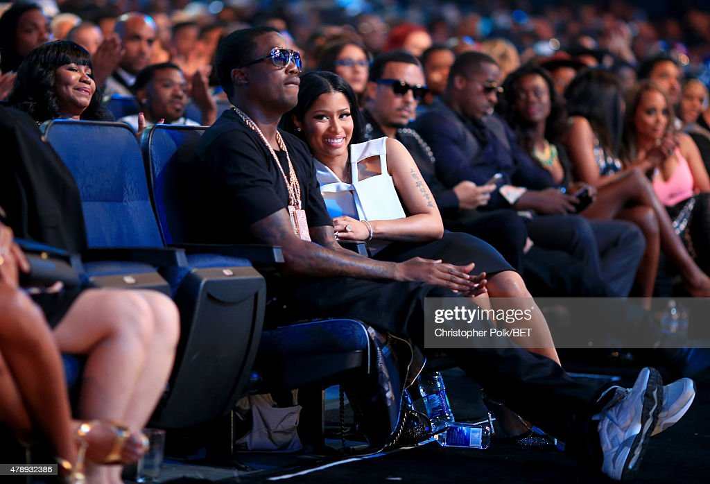 Recording artists Meek Mill (L) and Nicki Minaj attend the 2015 BET Awards at the Microsoft Theater on June 28, 2015 in Los Angeles, California.