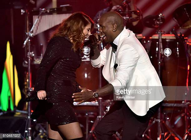 Recording artists Meghan Trainor and Tyrese Gibson perform onstage during The 58th GRAMMY Awards at Staples Center on February 15 2016 in Los Angeles...