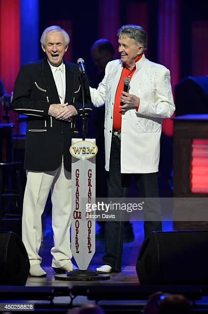 Recording Artists Mel Tillis and 'Whispering' Bill Anderson performs at The Grand Ole Opry on June 7 2014 in Nashville Tennessee