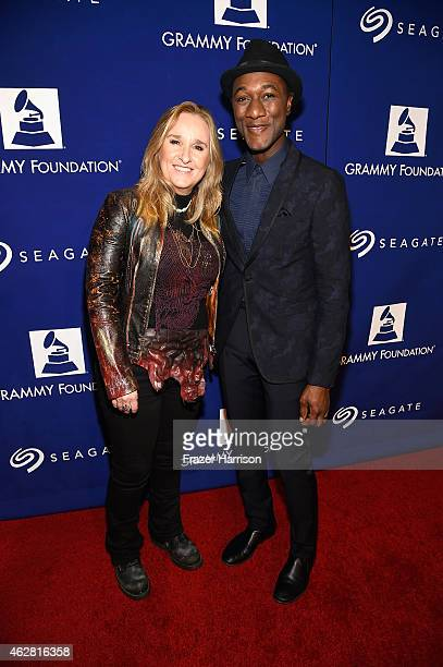 Recording artists Melissa Etheridge and Aloe Blacc attend the GRAMMY Foundation's 17th annual Legacy Concert Lean On Me A Celebration of Music and...