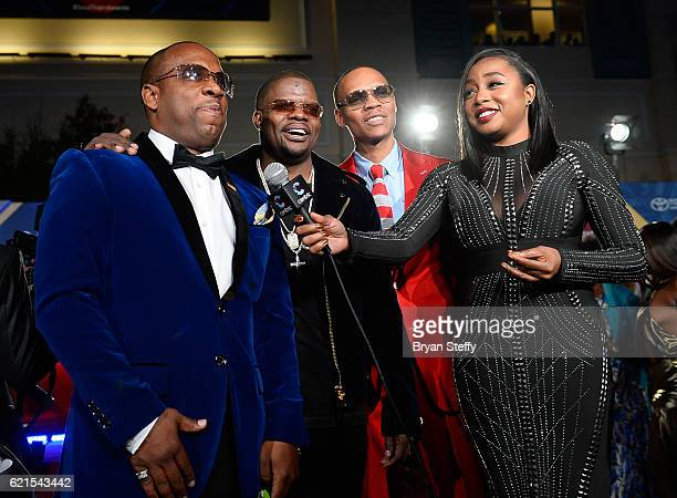 Recording artists Michael Bivins Ricky Bell Ronnie DeVoe of Bell Biv DeVoe and New Edition and tv personality Kela Walker attend the 2016 Soul Train...