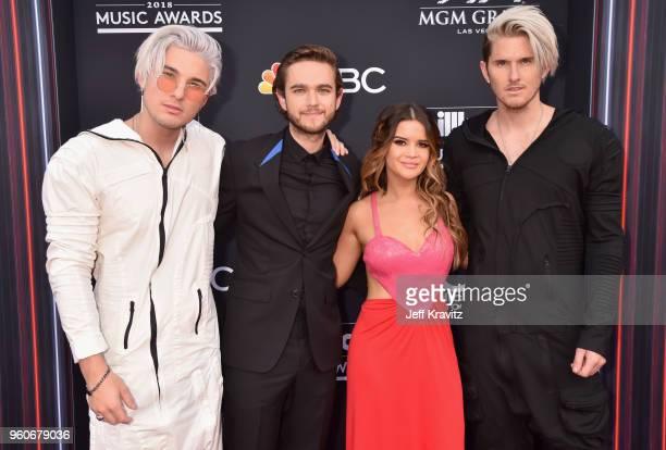 Recording artists Michael Trewartha of musical group Grey Zedd Maren Morris and Kyle Trewartha of musical group Grey attend the 2018 Billboard Music...