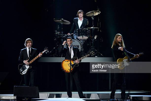 Recording artists Mickey Madden Adam Levine Matt Flynn and James Valentine of Maroon 5 perform onstage during 'The Night That Changed America A...