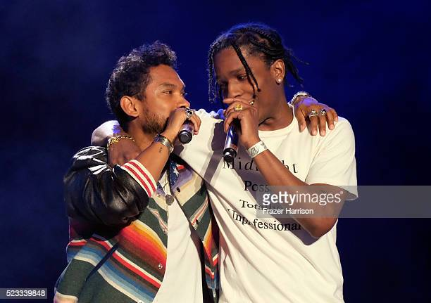 Recording artists Miguel and ASAP Rocky perform onstage during day 1 of the 2016 Coachella Valley Music Arts Festival Weekend 2 at the Empire Polo...
