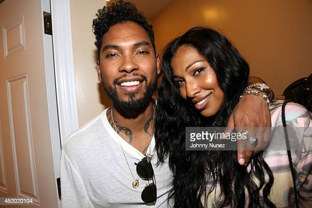 Recording artists Miguel and Melanie Fiona attend Milk presents ADD52 at Riverfront Studios on July 10 2014 in Brooklyn New York