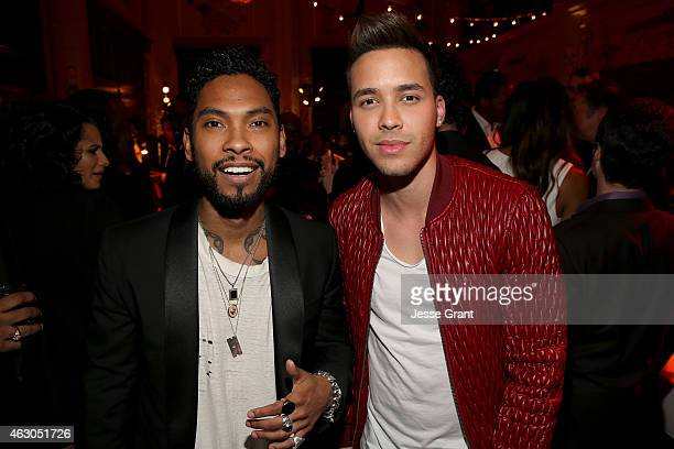 Recording artists Miguel and Prince Royce attend the Sony Music Entertainment 2015 PostGrammy Reception at The Palm on February 8 2015 in Los Angeles...
