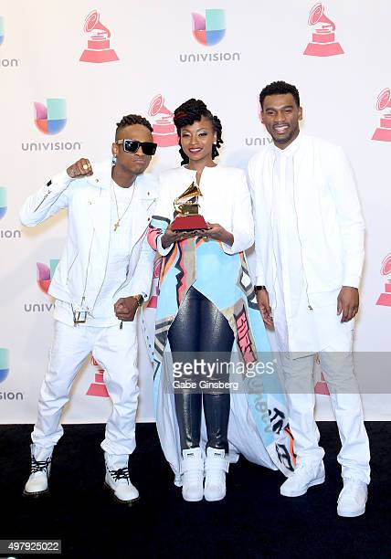 Recording artists Miguel 'Slow' Martinez Gloria 'Goyo' Martinez and Carlos 'Tostao' Valencia of music group ChocQuibTown winners of Best Tropical...