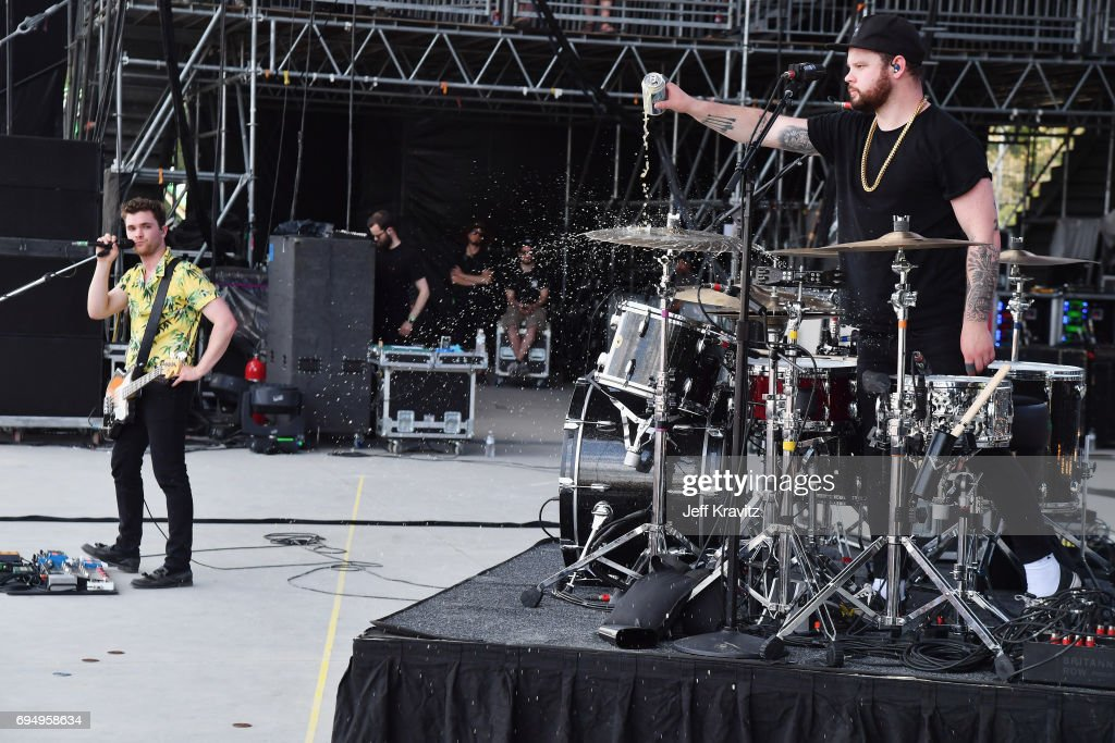 Recording artists Mike Kerr (L) and Ben Thatcher of Royal Blood perform onstage at What Stage during Day 4 of the 2017 Bonnaroo Arts And Music Festival on June 11, 2017 in Manchester, Tennessee.