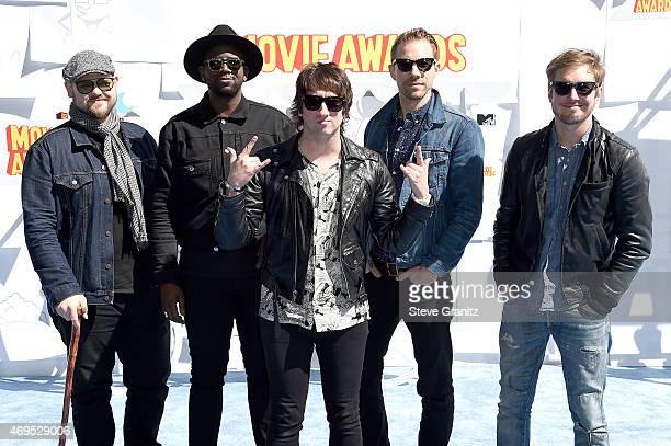 Recording artists Mike Retondo, De'Mar Hamilton, Tom Higgenson, Tim Lopez, and Dave Tirio of music group Plain White T's attend the 2015 MTV Movie...