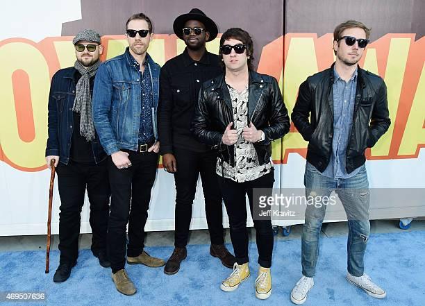 Recording artists Mike Retondo, Tim Lopez, De'Mar Hamilton, Tom Higgenson and Dave Tirio of music group Plain White T's attend The 2015 MTV Movie...