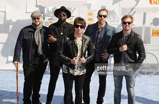 Recording artists Mike Retondo, Tim Lopez, De'Mar Hamilton, Tom Higgenson and Dave Tirio of music group Plain White T's arrive at the 2015 MTV Movie...