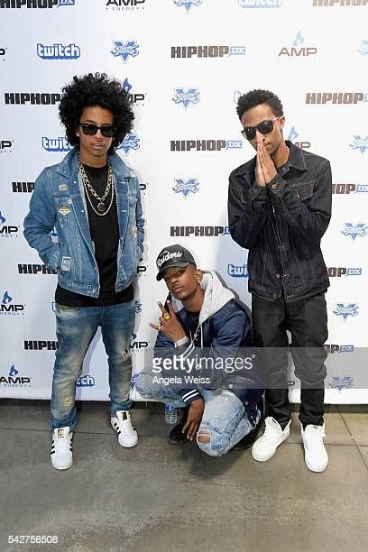 Recording artists Mike River Princeton and EJ of Mindless Behavior attend Next Level Presented By AMP Energy A Hip Hop Gaming Tournament at Rostrum...