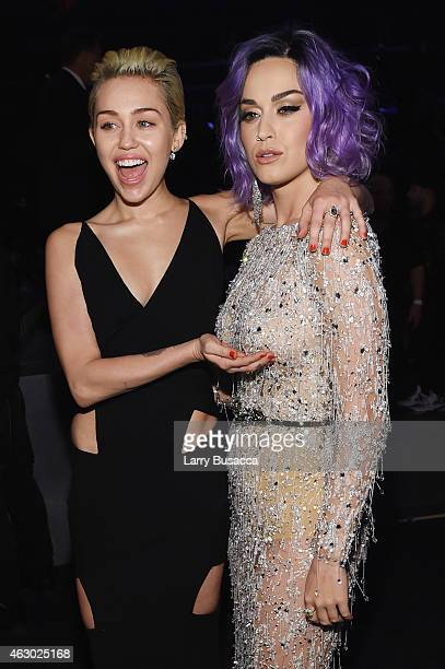 Recording Artists Miley Cyrus and Katy Perry attend The 57th Annual GRAMMY Awards at the STAPLES Center on February 8 2015 in Los Angeles California