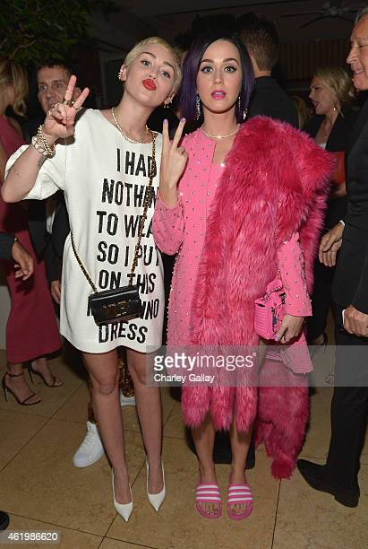 """Recording artists Miley Cyrus and Katy Perry attend The DAILY FRONT ROW """"Fashion Los Angeles Awards"""" Show at Sunset Tower on January 22, 2015 in West..."""