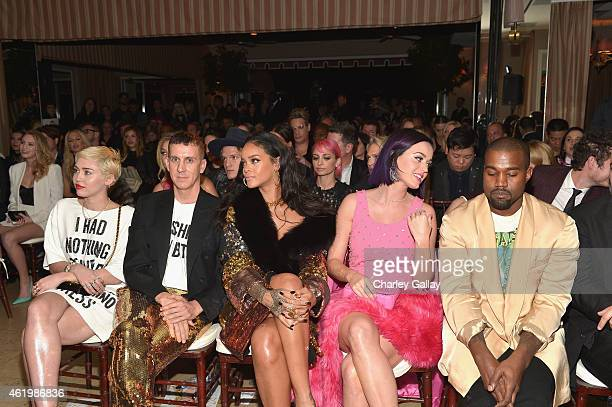 Recording artists Miley Cyrus honoree Jeremy Scott recording artists Rihanna Katy Perry and Kanye West attend The DAILY FRONT ROW Fashion Los Angeles...