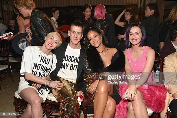 Recording artists Miley Cyrus honoree Jeremy Scott recording artists Rihanna and Katy Perry attend The DAILY FRONT ROW Fashion Los Angeles Awards...