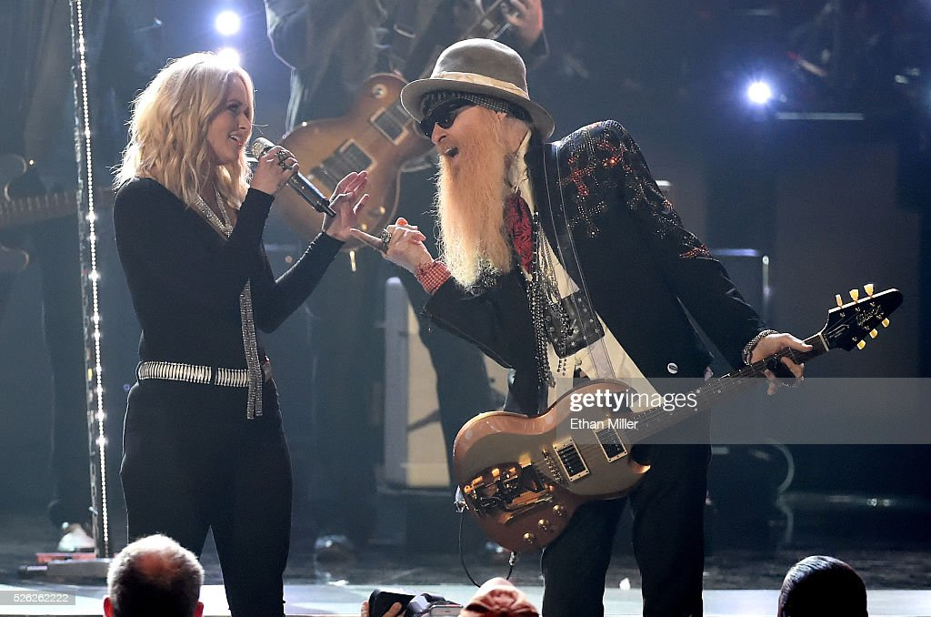 Recording artists Miranda Lambert (L) and Billy Gibbons perform during the 51st Academy of Country Music Awards at MGM Grand Garden Arena on April 3, 2016 in Las Vegas, Nevada.