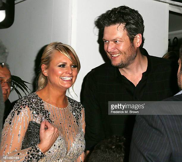 Recording artists Miranda Lambert and Blake Shelton attend Warner Music Group's 2013 Grammy Celebration at Chateau Marmont's Bar Marmont on February...
