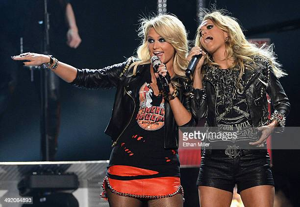 Recording artists Miranda Lambert and Carrie Underwood perform onstage during the 2014 Billboard Music Awards at the MGM Grand Garden Arena on May 18...