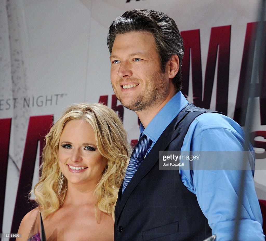 Recording artists Miranda Lambert and husband Blake Shelton