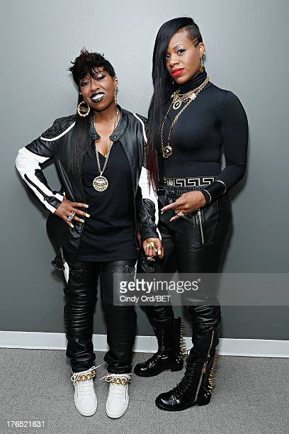 Recording artists Missy Elliott and Fantasia pose backstage at BET's '106 and Park' at BET Studios on August 14 2013 in New York City