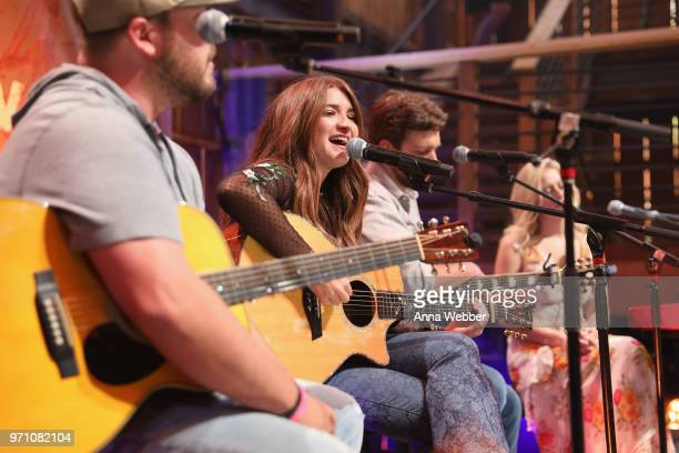 Recording artists Mitchell Tenpenny Tenille Townes Carlton Anderson and Rachel Wammack perform onstage during Sony Discovered in the HGTV Lodge at...