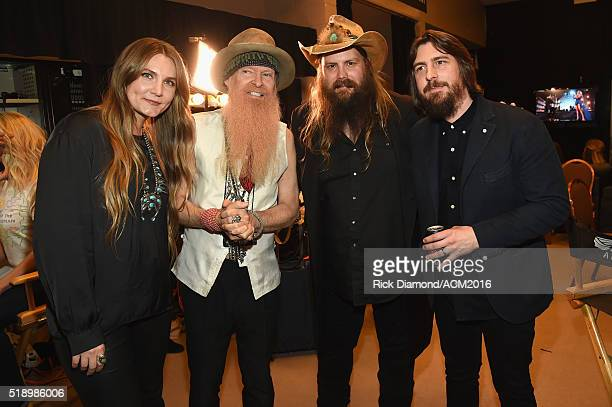 Recording artists Morgane Stapleton Billy Gibbons Chris Stapleton and record producer Dave Cobb attend the 51st Academy of Country Music Awards at...