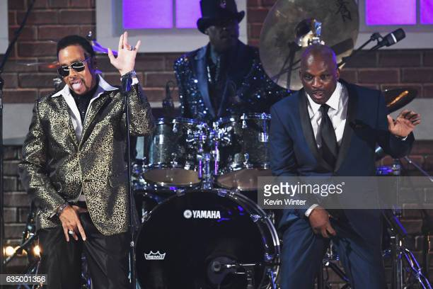 Recording artists Morris Day Jellybean Johnson and Jerome Benton of music group The Time perform onstage during The 59th GRAMMY Awards at STAPLES...