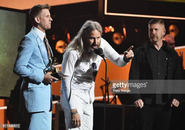 Recording artists Musicians Brann Dailor Bill Kelliher and Troy Sanders of Mastodon accept the award for Best Metal Performance for 'Sultan's Curse'...