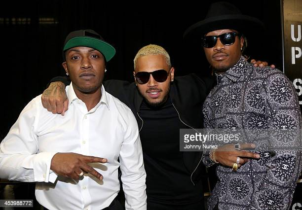 Recording artists Mystikal Chris Brown and Future attend the 2014 BMI RB/HipHop Awards at the Pantages Theatre on August 22 2014 in Hollywood...