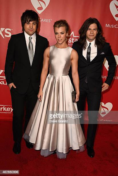 Recording artists Neil Perry Kimberly Perry and Reid Perry of The Band Perry attend the 25th anniversary MusiCares 2015 Person Of The Year Gala...