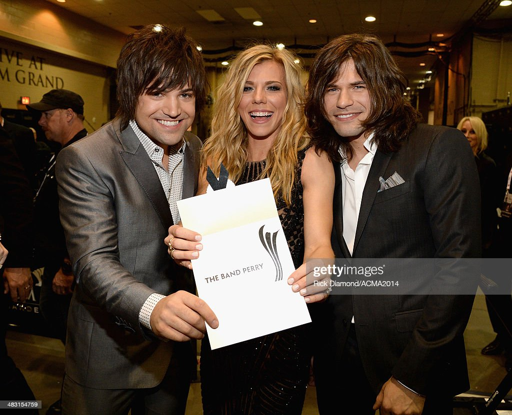 Recording artists Neil Perry, Kimberly Perry and Reid Perry of The Band Perry attend the 49th Annual Academy of Country Music Awards at the MGM Grand Garden Arena on April 6, 2014 in Las Vegas, Nevada.