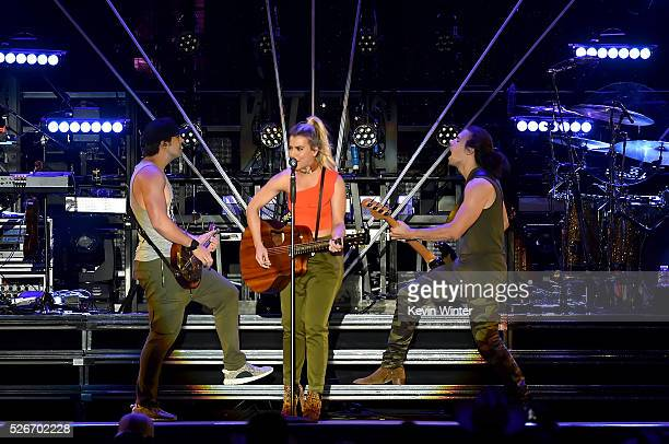 Recording artists Neil Perry Kimberly Perry and Reid Perry of The Band Perry perform onstage during 2016 Stagecoach California's Country Music...
