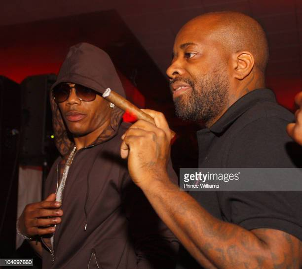 Recording artists Nelly and Jermaine Dupri attend the Clark Atlanta University Young Alumni Party at W Atlanta Downtown on October 1 2010 in Atlanta...