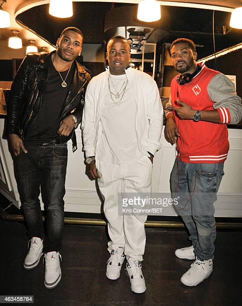 Recording artists Nelly, Yo Gotti and Ray J attend the BET Networks Celebrity Bowling Event at Bowlmor Pier 60 on February 14, 2015 in New York City.