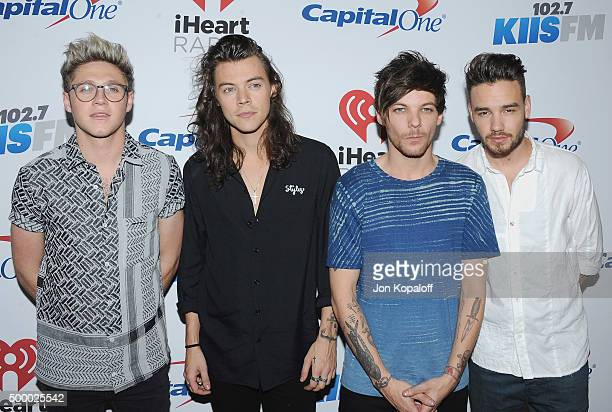 Recording artists Niall Horan Harry Styles Louis Tomlinson and Liam Payne of One Direction arrive at 1027 KIIS FM's Jingle Ball at Staples Center on...