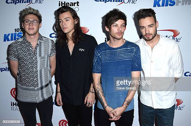 Recording artists Niall Horan Harry Styles Louis Tomlinson and Liam Payne of One Direction arrives at the 1027 KIIS FM's Jingle Ball at Staples...