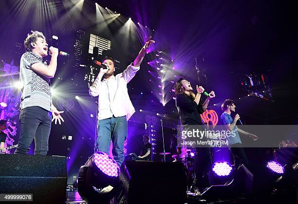 Recording artists Niall Horan Liam Payne Harry Styles and Louis Tomlinson of One Direction perform onstage during 1027 KIIS FM's Jingle Ball 2015...