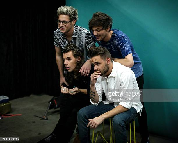 Recording artists Niall Horan Louis Tomlinson and Harry Styles and Liam Payne of music group One Direction attend 1027 KIIS FM's Jingle Ball 2015...